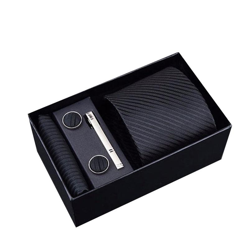 8 cm Men's Ties New Man Fashion Dot Neckties Corbatas Gravata Jacquard Tie, Handkerchief Cufflinks Clip Set Tie For Men Gift Box