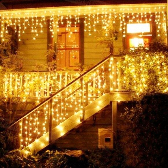 4M x 0,6 M cortina LED guirnalda de luces tipo cortina 96 LEDs impermeable 220V interior gota LED fiesta jardín etapa exterior luz decorativa