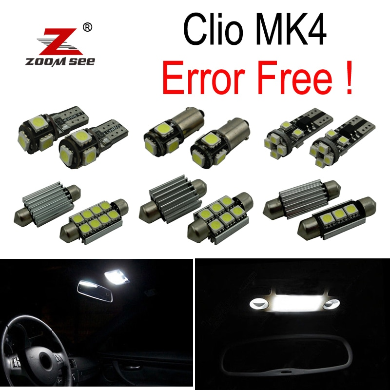 7 шт. x Ошибка бесплатно для 2013-2017 Renault Clio 4 IV MK4 хэтчбек Grandtour Estate Светодиодная лампа интерьер чтения багажник свет комплект