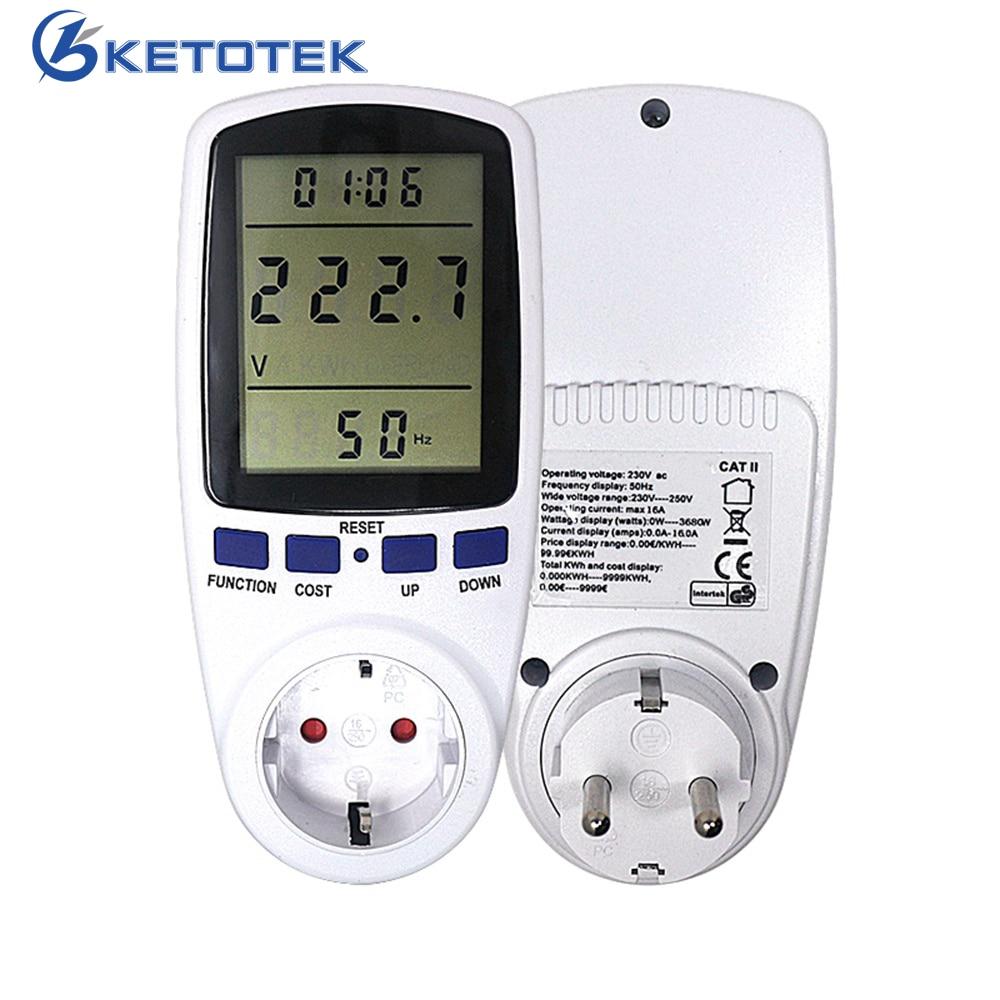 EU Plug AC Power Meter Digital Wattmeter Watt Monitor Electricity Consumption Power Analyzer Energy Meter Measuring Socket