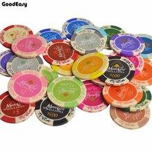 5 teile/satz Ton Casino Texas Poker Chip Set Metall Münzen Weizen Monte Carlo Chips Poker Club Zubehör Anpassbare