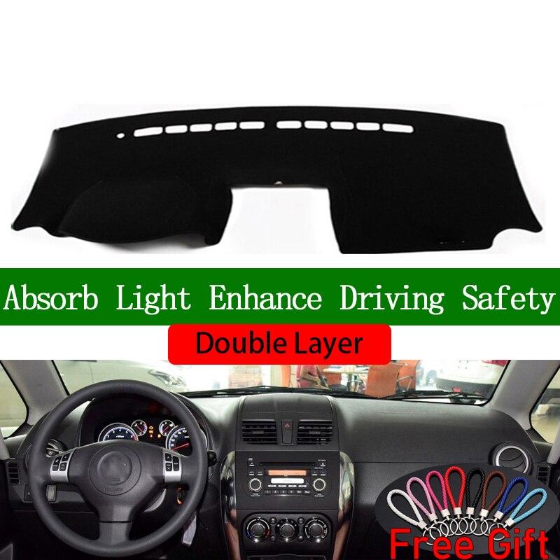 Pegatinas de doble capa de coche para SUZUKI SX4 2006 2007 2008 2009-2016 cubierta de salpicadero accesorios de coche Interior Anti-UV calcomanías de coche