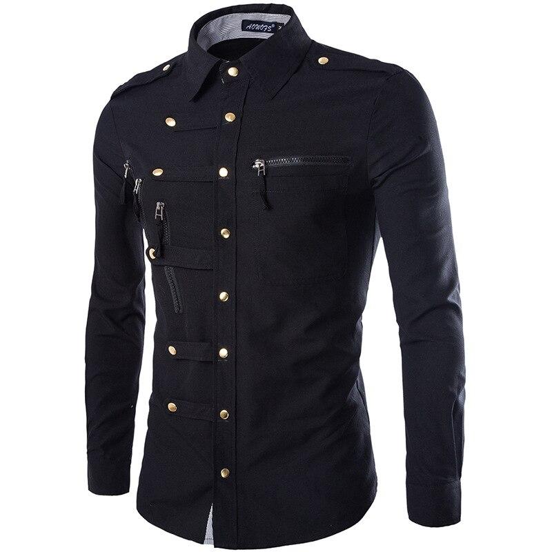 Мужская рубашка-карго, Повседневная Облегающая рубашка с длинным рукавом и двойным карманом, M, L, XL, XXL, на весну/осень