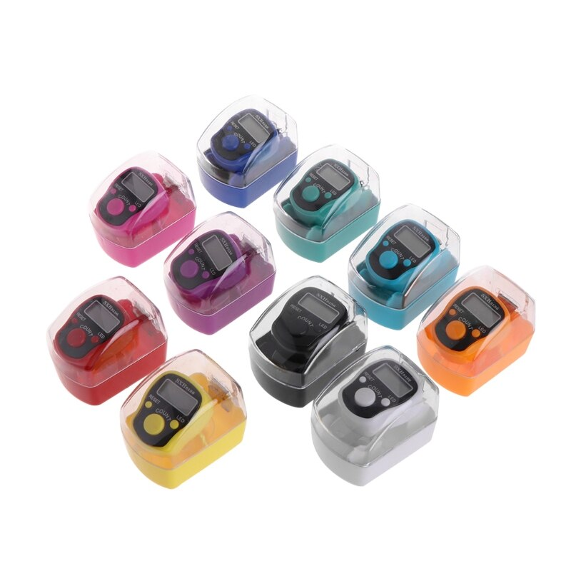 1Pc Mini 5 Digit LCD Digital Display Finger Hand Ring Tally Counter Golf Sport Universal-Random Color