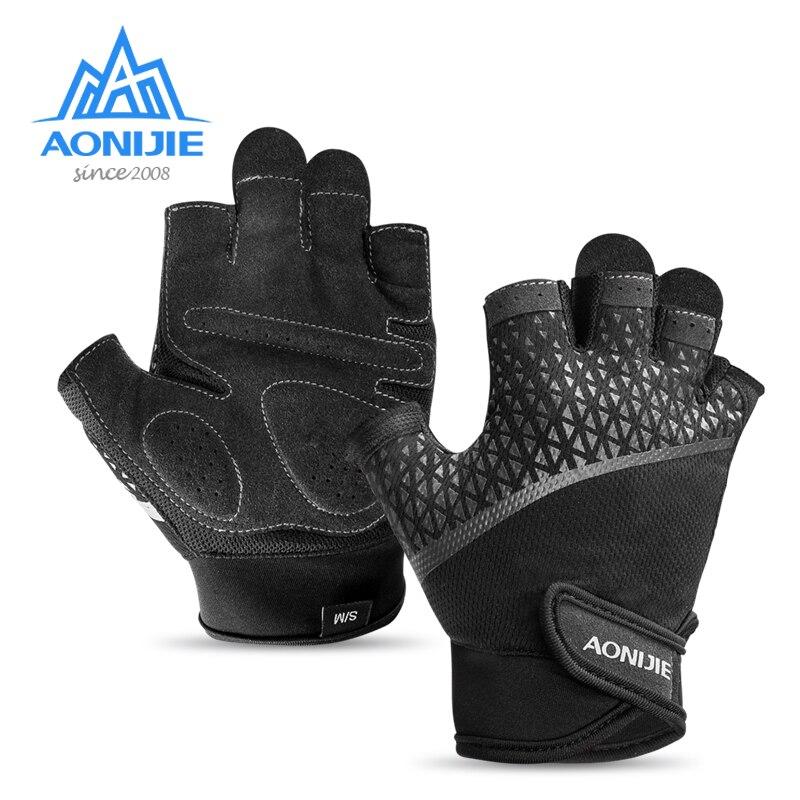 AONIJIE, guantes para correr y trotar, para ciclismo de montaña, guantes a medio dedo para verano, gimnasio, Fitness, guantes antideslizantes