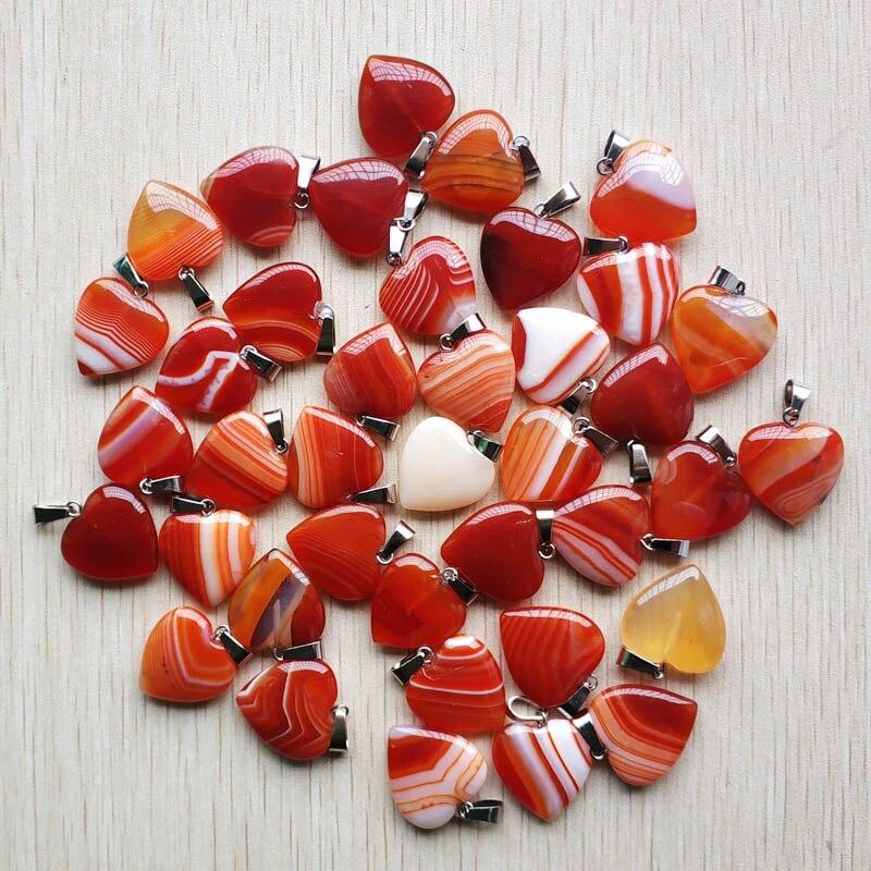 Atacado 36 pçs/lote moda de alta qualidade tarja vermelha onyx encantos da forma do coração pingentes para fazer jóias 20mm frete grátis