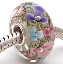 PJG867 100% S925 Ayar Gümüş Boncuk Murano Cam boncuk Avrupa Charms Bilezik Fit charms diy takı Lampwork Cam Boncuklar
