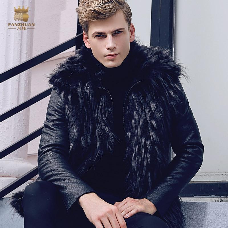 Free Shipping fanzhuan New 2017 fashion male Men's slim warm coat winter Fur thickening PU leather velvet 710125 Hair collar