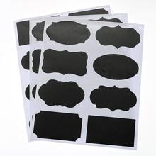 Blackboard Sticker Bottle Label Black Rewriteable Sticker 8.5*5cm Children Stationery Office Classified Tag 24pcs / 3 Sheets