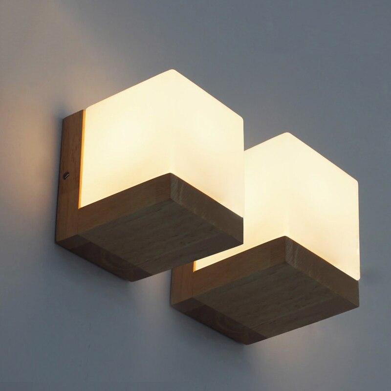 Japonês de madeira maciça estilo arte quadrado lâmpada parede vidro fosco branco para cabeceira decoração simples led luz quente e27 iluminação