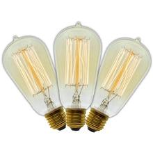 BMBY 3 Pcs/Lot Handmade Edison Lamps Carbon Filament Clear Glass's Edison Retro Vintage Incandescent Bulb 40W/60W 220V E27 ST5