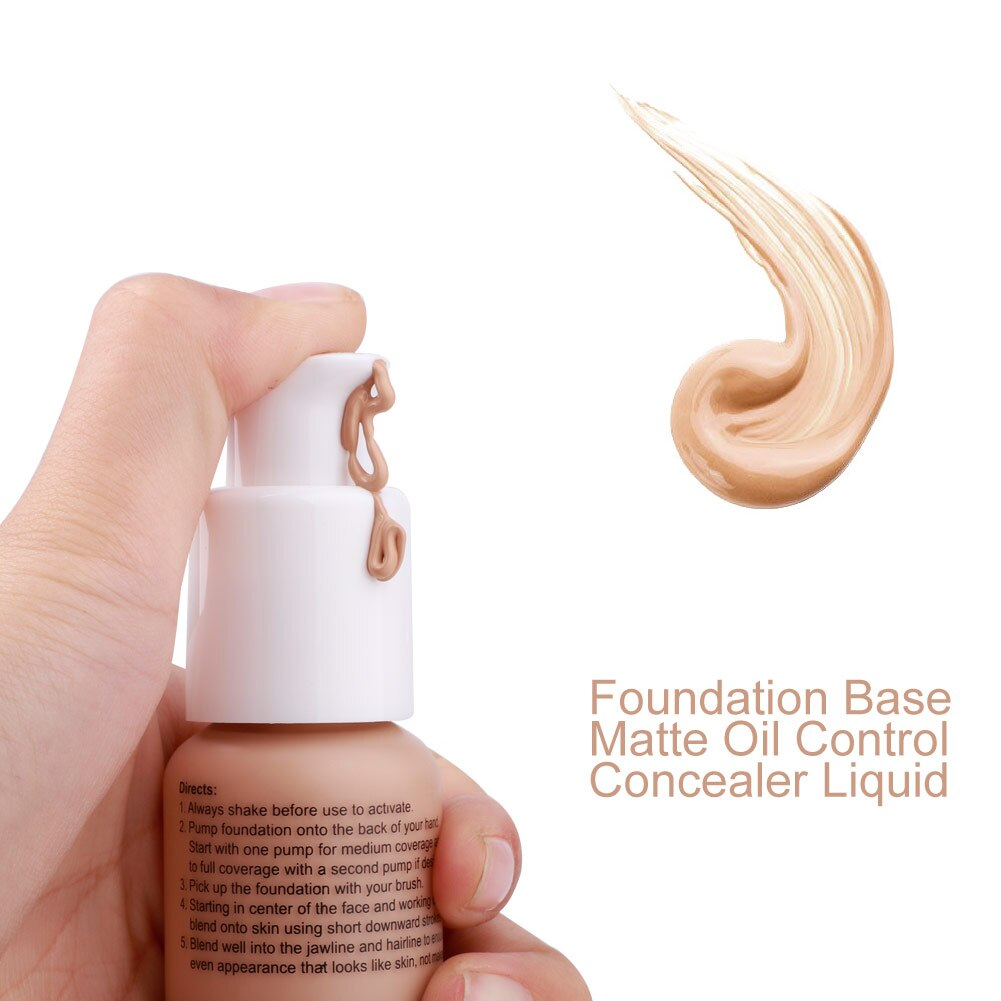 Base de Base Natural suave mate desgaste largo impermeable largo Control de aceite corrector líquido cubierta corrector mujeres maquillaje