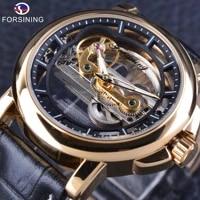 forsining luminous transparent hollow vintage waterproof genuine leather waterproof men watches top brand luxury automatic clock
