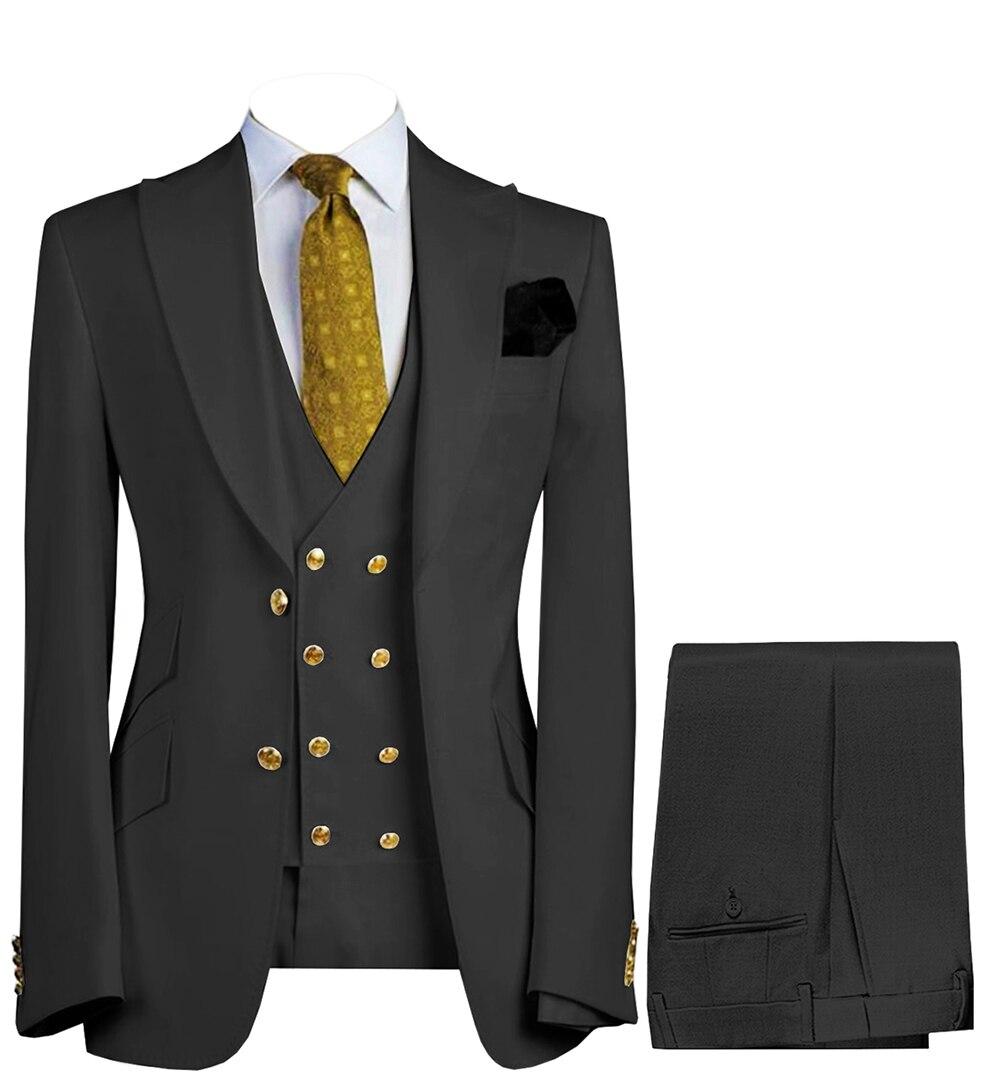 بدلة رجال أعمال من 3 قطع مزدوجة الصدر بتصميم كلاسيكي سترة للحفلات الراقصة بقصة ضيقة بدلة رسمية وبنطلون وصدرية