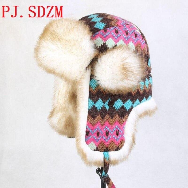 PJ.SDZM-قبعات منفوخة للنساء ، قبعة صياد ، طيار سميك ، للرياضات الخارجية ، التزلج ، قبعات الأذن ، قبعة الثلج الدافئة 100% ، LF0005