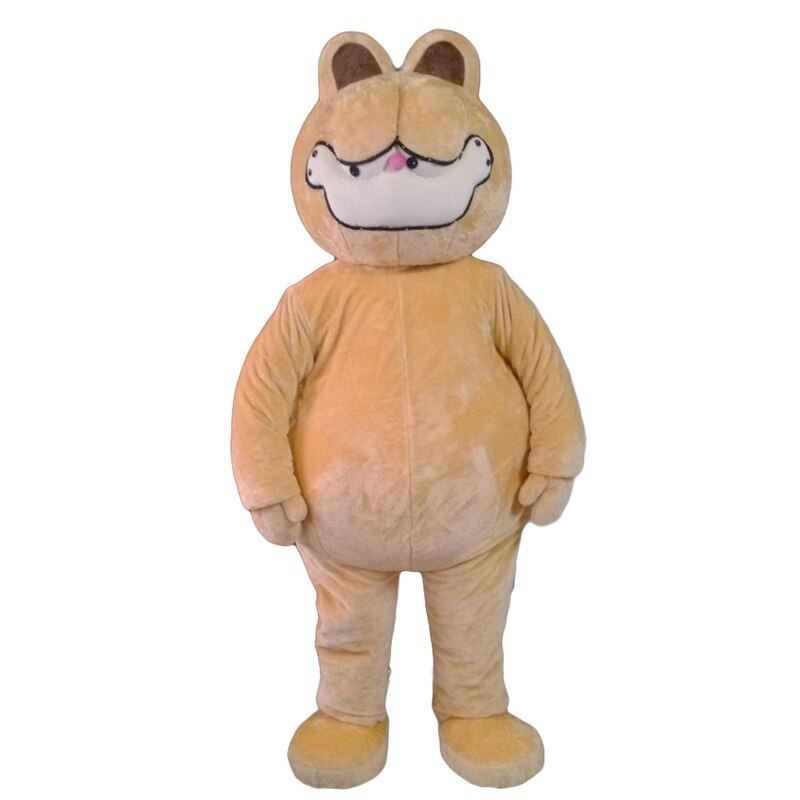 Disfraz de Mascota de gato de Garfield amarilla con vientre grande feliz cara sonriente vestido de fantasía para adultos envío gratis