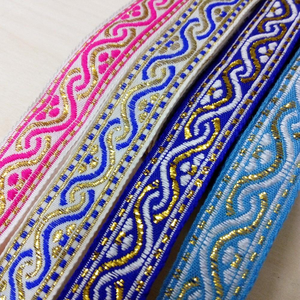 2,2 cm 22mm 7/8 algodón oro filigrana rosa azul ondulado ribete encaje étnico ropa traje perro Collar nacional Jacquard cinta