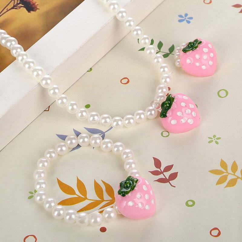Collar de perlas de imitación de fresa rosa para niñas, anillo de dedo ajustable, bonitos juegos de abalorios para niños, conjuntos de joyas para niños