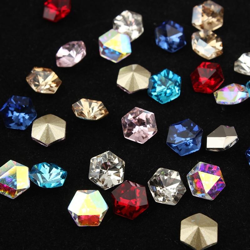8x8mm piedra de cristal Hexagonal pegamento en diamantes de imitación para la ropa piedras Decoración Ropa apliques accesorios strass artesanía