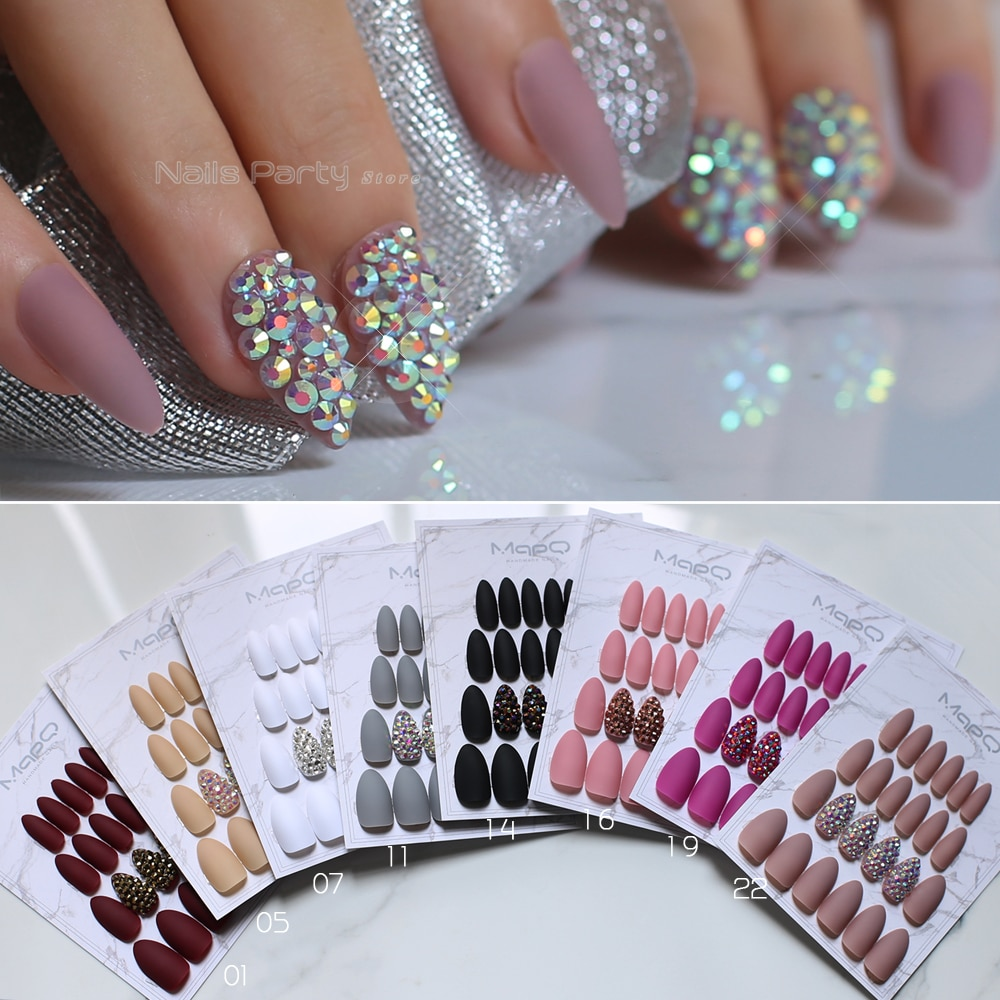 AliExpress - White Matte Pink Press On Nail Bling crystal Nail Art Burgundy Pointed Black false stiletto nail Gray  Nude with Stickers 24pcs