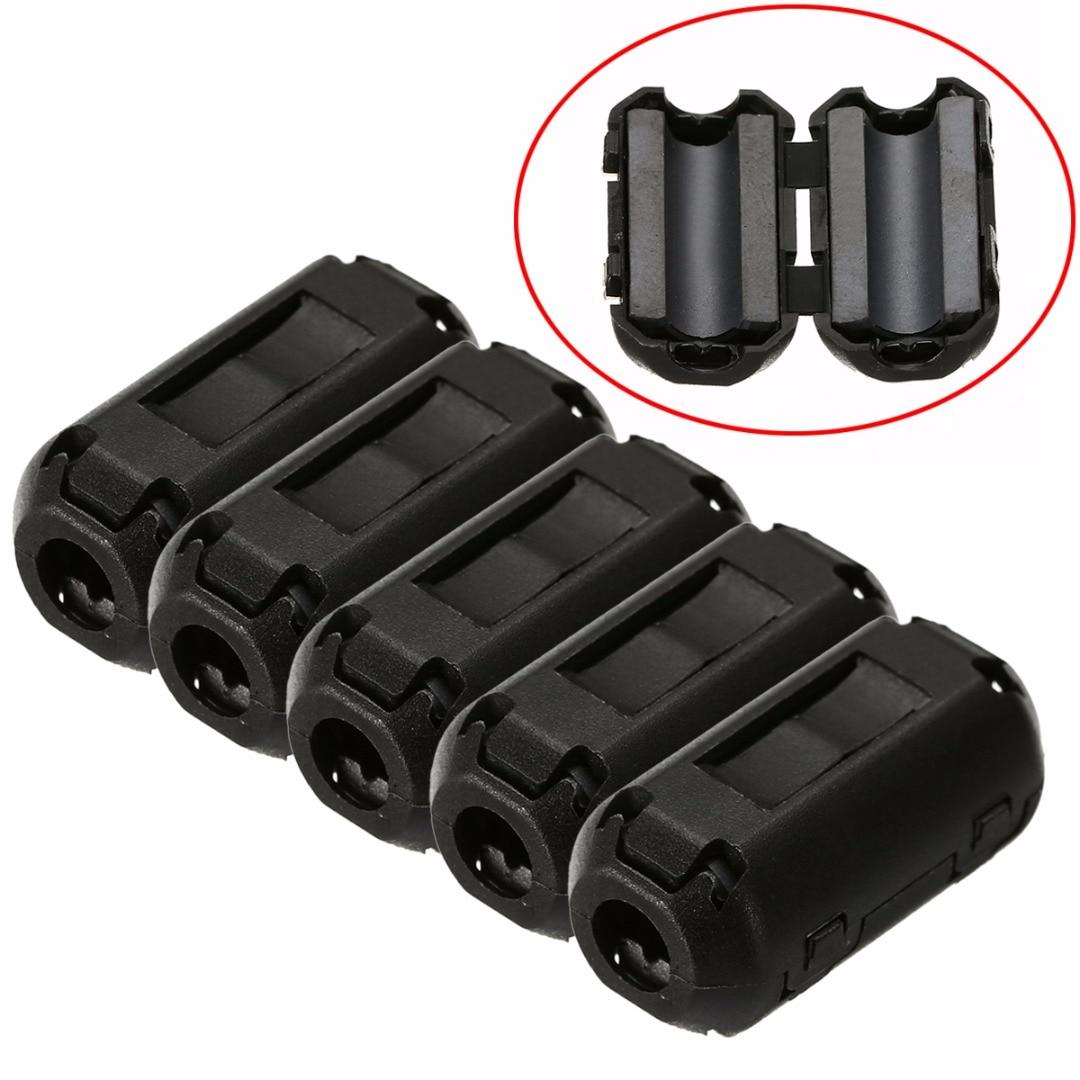 5 uds. Filtros de ferrita de ruido de 3,5mm supresor EMI RFI Clip Choke ferrita núcleo filtro para cables para Cable de alimentación