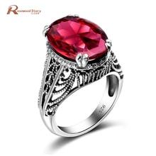 Personnalisé réel 925 bague en argent Sterling bague de mariage cadeau Vintage créé rubis pierre anneaux pour les femmes Vintage Fine bijoux