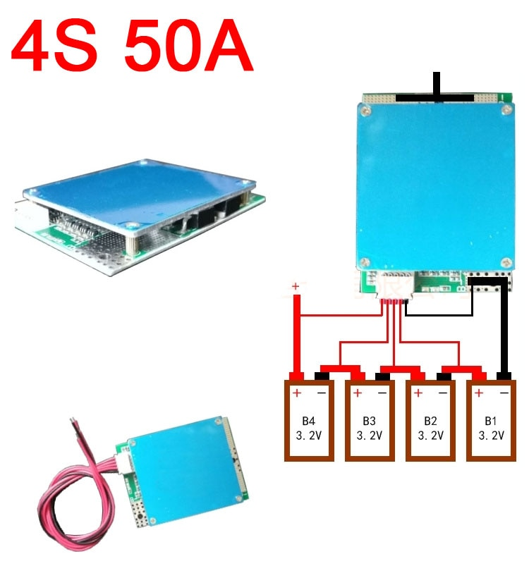 4S 12В 50А Lifepo4 литий-железо фосфат BMS плата защиты батареи w сбалансированная 3,2 в 4 ячейки для Автомобиля Стартовый инвертор