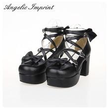 8cm Chunky Ferse Schwarz Leder Strappy Lolita Schuhe Süßen Bogen Runde Kappe Plattform Pumpen High Heels