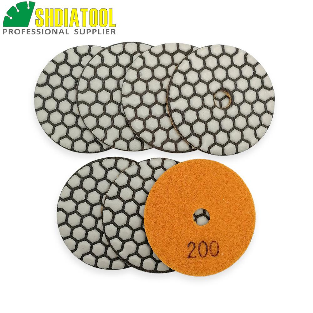 SHDIATOOL 7pcs Diameter 3inch #200 Diamond Dry Polishing Pads Grinding Discs 80mm Resin Bond Diamond Flexible Sanding Disks