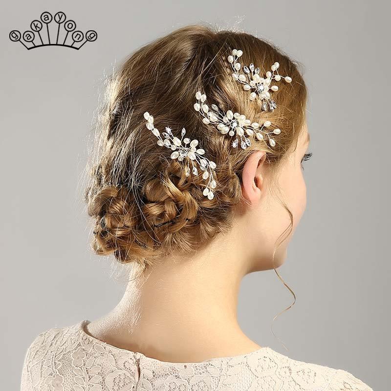 Wedding Crystal Pearl Hair pins For Silver Colour Bridal Hair Accessories Fashion Women Hair Clips Many Wedding Hair Jewelry