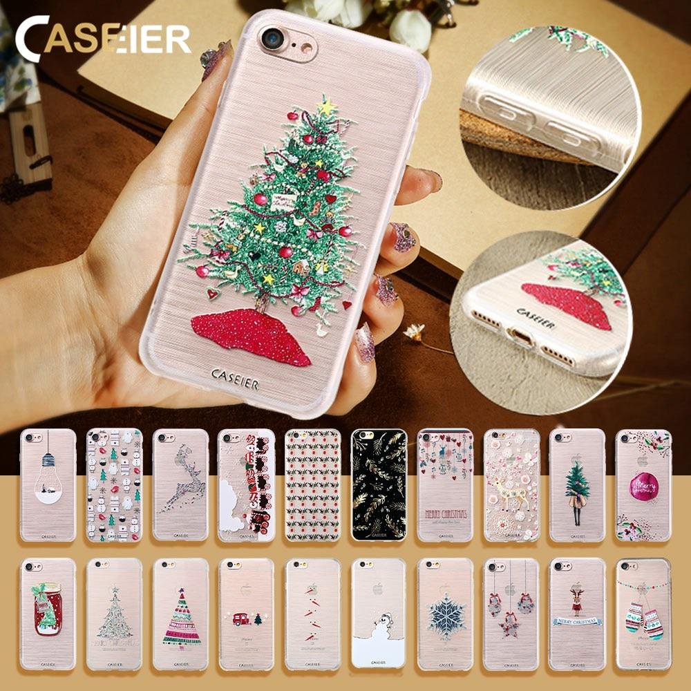 CASEIER invierno teléfono caso para el iPhone 6 6s más relieve Lovely Soft TPU cubierta para iPhone 7 8 más X 5 5S SE Christma Funda For iPhone X 8 7 6 6S 5 5S SE