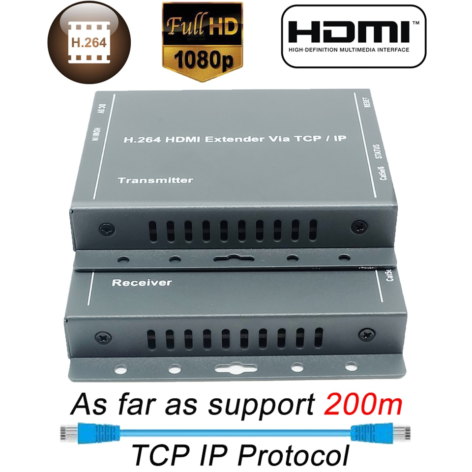 2020 660ft Better Than HDBitT H.264 HDMI Extender Over TCP IP HDMI Extender By Ethernet RJ45 CAT5/5e/6 Cable Like HDMI Splitter