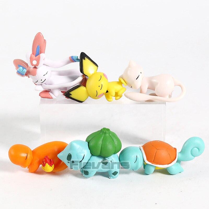 Figuras de dibujos animados de Sleeping Sylveon Pichu Mew, Charmander, Bulbasaur, Squirtle, minifiguras de PVC, juguetes coleccionables, 6 unidades por juego
