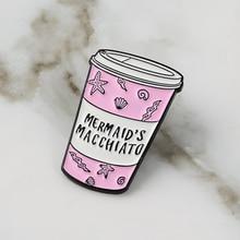 Dessin animé sirène Macchiato rose café broche coquillage mer sirène mer Cuites insignes épinglette broches pour les femmes fille cadeaux