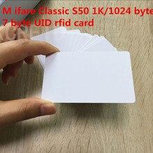 Originele 13.56 mhz 7 byte UID van MF1 S50 Chip 1 k Geheugen Beschrijfbare rfid kaart voor toegangscontrole systeem 5 stks