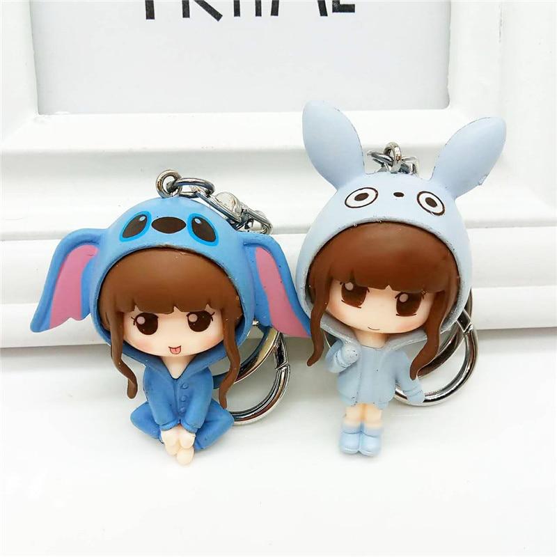 New Fashion Keychains Cute Cute Girl little Princess Chain Ring Anime Keychain Creative Trinket Charm Women Girl Kids Keyring