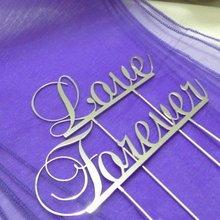 Shipping-11cm gratis Metal plateado amor Forever-aniversario monograma pastel Topper
