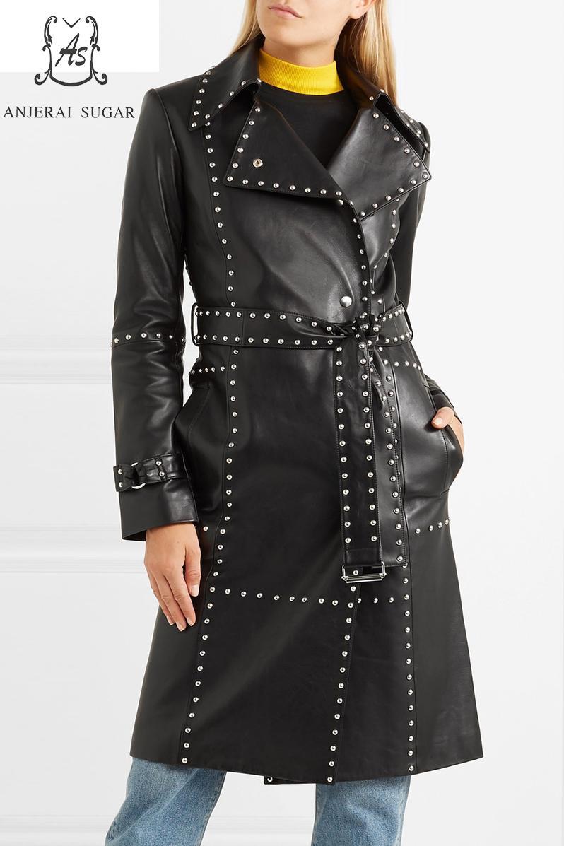 Spring Autumn women sheepskin genuine leather jacket customization rivet pocket belt jaqueta couro feminina long windbreak coats