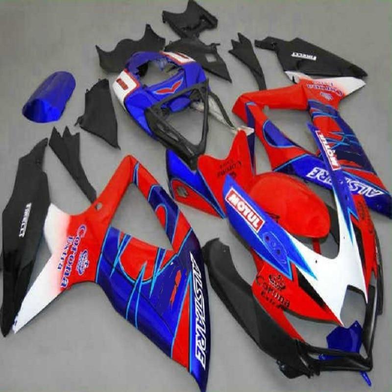 ABS Fairings kits For GSXR600 GSXR750 08 09 10 R600 R750 K8 GSX-R600 GSXR 600 750 2008 2009 2010 red blue white black purple