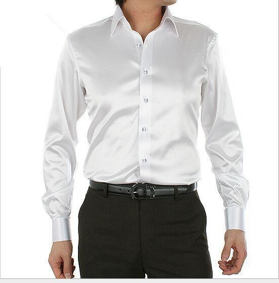 spring autumn New style men white silk Tuxedo Shirts plus size S-5XL men long sleeve shirt men Cultivate ones morality shirt