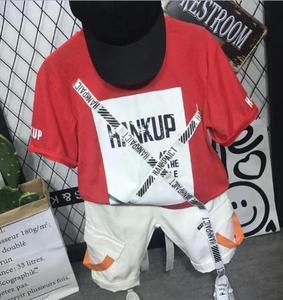 Children's clothes baby boy suit cotton fashion casual T-shirt + light tooling shorts suit children's toddler boy clothes