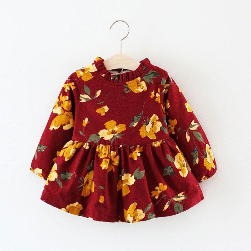 Vestido de princesa de manga larga con flores para recién nacidos, chaqueta gruesa de lana de algodón para niñas, ropa de abrigo de otoño para niños y bebés 2017
