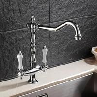 european kitchen faucet silver antique copper retro sink sink faucet american hot and cold faucet