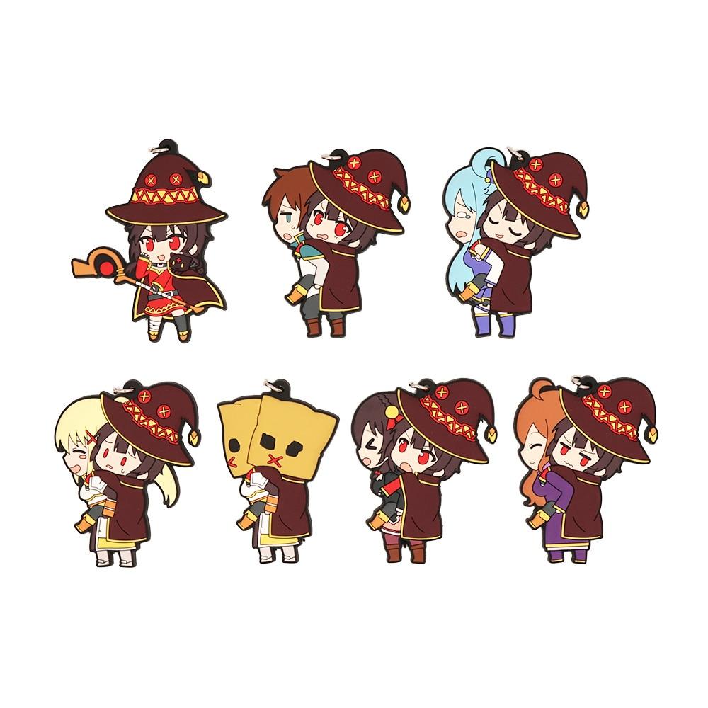 Konosuba Kono Subarashii Sekai ni Syukufuku Wo Anime Megumin Aqua oscuridad Yunyun Kazuma Wiz CharaRide Correa llavero de goma