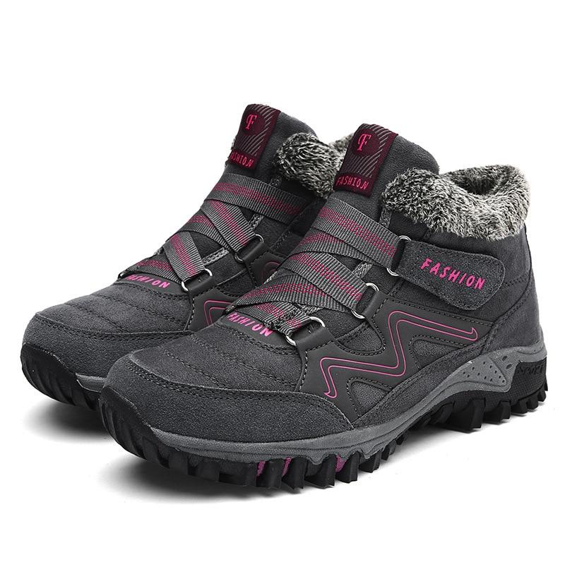 2018 de las mujeres de invierno botas para la nieve caliente las mujeres empujar tobillo botas de mujer plataforma de cuña botas de agua de goma Botas de senderismo zapatos Size42