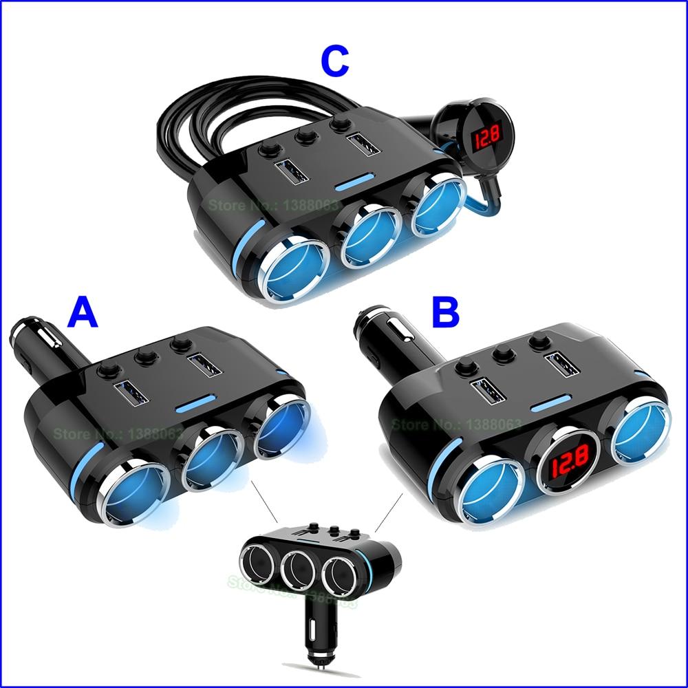 12/24 V 100 W 5 V 3.1A encendedor de coche divisor con cargador de coche USB encendedor de cigarrillos automático toma con toma de corriente USB