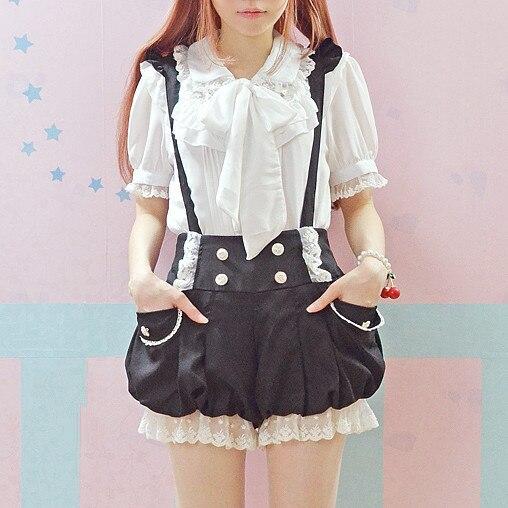 Monos estilo Kawaii negro/Rosa novedad de verano volantes de encaje doble linterna de pecho pantalones cortos con tirantes Lolita monos bonitos