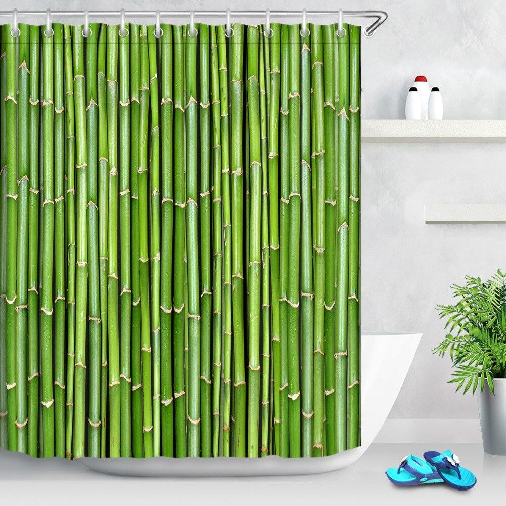 LB природа зеленая бамбуковая дверь лес натуральный завод занавеска для душа s ванная занавеска ткань водонепроницаемый полиэстер для ванно...
