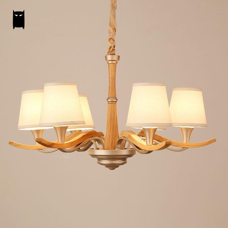 Lámpara de araña de tela de roble de 3/6/8 brazos con diseño de lámpara de estilo nórdico
