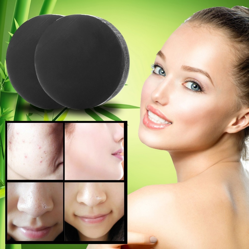 Nuevo carbón activado cristales jabón blanqueador facial de piel jabón para eliminar la espinilla y de Control de aceite de lavado PE3 WD2
